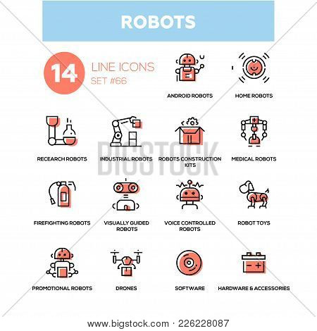 Robots - Line Design Icons Set. High Quality Black Pictogram. Home, Research, Android, Industrial, C
