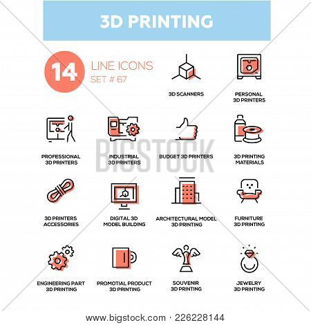 3d Printing - Line Design Icons Set. Scanners, Personal Printers, Professional, Industrial, Budget,