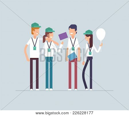 Happy Volunteers Standing Together - Modern Flat Design Style Isolated Illustration On Blue Backgrou