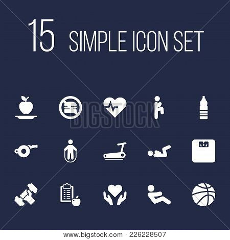 Set Of 15 Bodybuilding Icons Set. Collection Of Whistle, Running Track, Knee Raise And Other Element