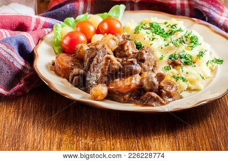 Dinner Or Lunch With Beef Bourguignon Stew