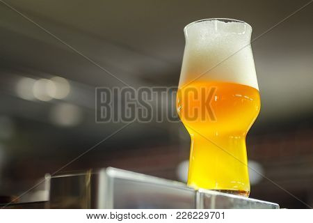 Glass Of Craft Beer In A Brewery