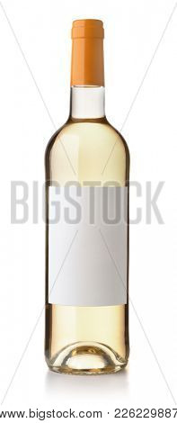 Front view of white wine bottle with blank label isolated on white