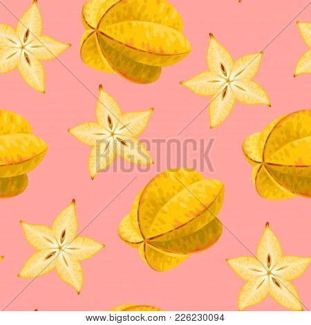 Seamless Pattern With Star Fruit. Carambola Fruit And Slice Of Carambola