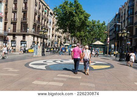 Joan Miro's Pla De L'os Mosaic In La Rambla. Barcelona, Spain