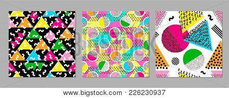 Colorful Geometric Seamless Patterns. Bright Backgrounds. 80's - 90's Years Design Style.