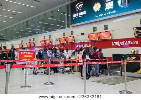Hanoi, Vietnam - Mar 26, 2016:  Flight Check In Counters At T1 International Terminal In Noi Bai Air