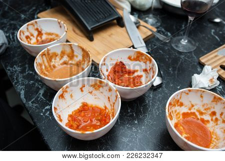Red Tomato Sauce In White Ceramic Bowls At The Restaurant Kitchen, Barbecue Sauce, Sweet And Sour Ch