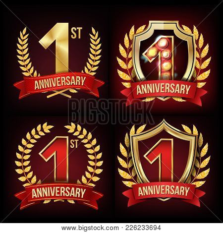 1 Year Anniversary Banner Vector. One, First Celebration. Shining Gold Sign. Number One. Laurel Wrea