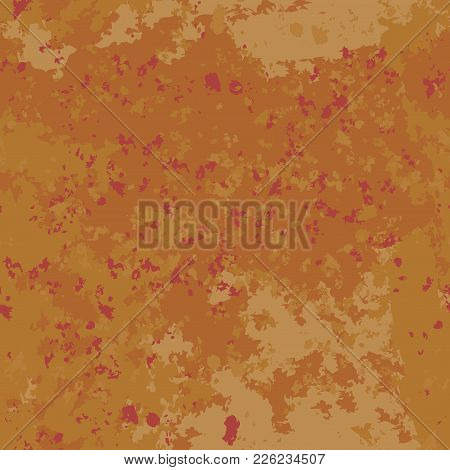 Seamless Pattern Background Red And Orange Old Paint. Vector Rust. Worn Wall