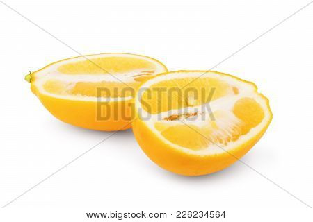 Whole And Half Lemon Fruit Isolated On White Background