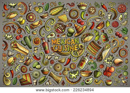 Colorful Vector Hand Drawn Doodle Cartoon Set Of Mexican Food Theme Items, Objects And Symbols