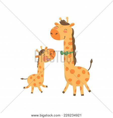 Cartoon Animal Family Portrait. Father Giraffe With Green Bow-tie And His Funny Baby. Happy Parent A