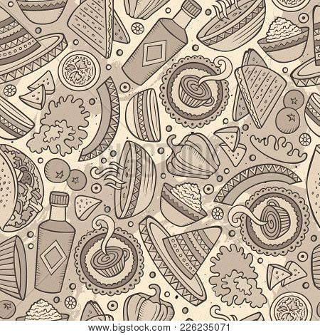 Cartoon Hand-drawn Latin American, Mexican Food Seamless Pattern. Lots Of Symbols, Objects And Eleme