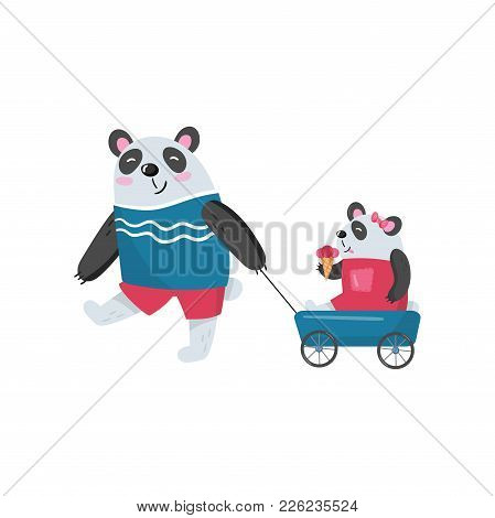 Father Panda Pulling His Baby Girl In Toy Wagon. Child Eating Ice-cream. Happy Family. Humanized Ani