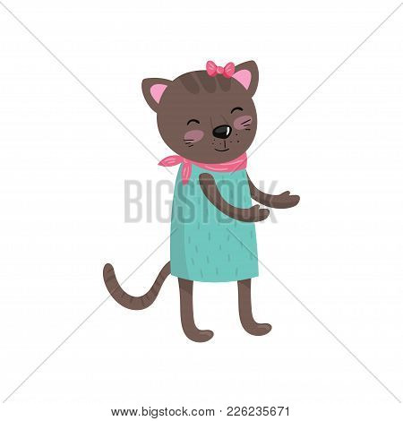 Smiling Brown Cat Wearing Dress, Pink Handkerchief On Neck And Bow On Head. Cartoon Character Of Hum