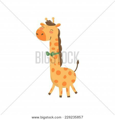 Cute Giraffe Character With Green Bow Tie. Cartoon Wild Animal With Long Neck And Spotted Body. Desi