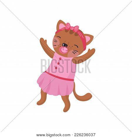 Adorable Humanized Kitten Wearing Pink Dress And Hoop With Bow On Head. Baby Girl With Pacifier In M