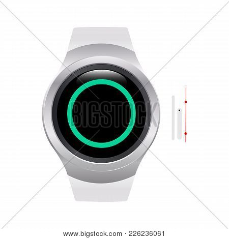 Blank Smart Watch Face With Hour, Minute And Second Hands Isolated On White Background. Just Set You
