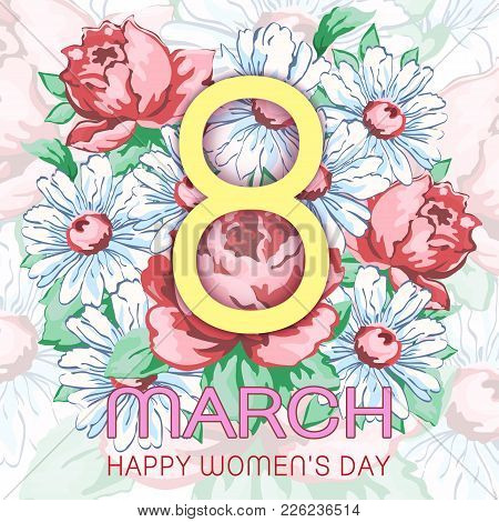8 March, Happy Women's Day Greeting Card, Holiday Vector Floral Banner. Yellow 8 On A Hand Drawn Flo