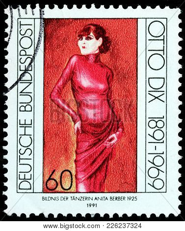 Luga, Russia - February 08, 2018: A Stamp Printed By Germany Shows Portrait Of Anita Berber - A Germ