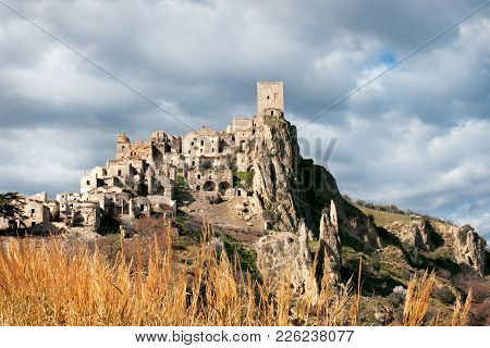 Beautiful Deserted Town, Abandoned By The Inhabitants. Ruins Of The Town Destroyed By A Landslide. C