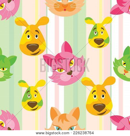 Funny Cartoon Cat And Dog Seamless Childish Pattern On Stripe Background. Background, Fabric, Wrappe