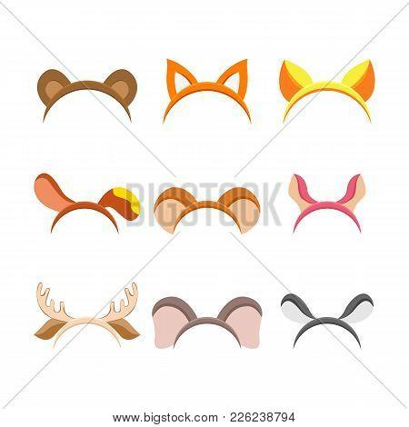 Cute Cartoon Animal Ears  Set For Holiday Celebration, Masquerade Head Decor, Xmas And New Year Mask
