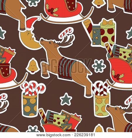 Merry Christmas Seamless Brown Pattern Background. Deer, Gifts, Candy And Moon Vector Illustration.