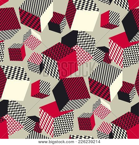 Abstract 3d Geometric Seamless Pattern. Volume Illusion Geometry Shapes Repeatable Motif In Vintage