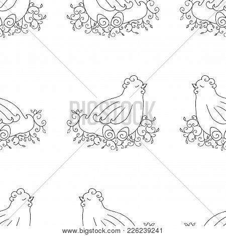 Chicken Seamless Pattern Background. Monochrome Wallpaper With Hen Vector Illustration.