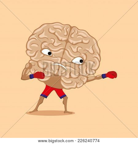 Strong Brain Ready For Battle On A Beige Background.