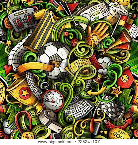Cartoon Doodles Football Seamless Pattern. Background With Soccer Subjects And Symbols. All Objects