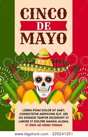 Cinco de mayo mexican holiday vector photo bigstock cinco de mayo mexican holiday greeting card for fiesta party template festival skull in sombrero m4hsunfo Image collections