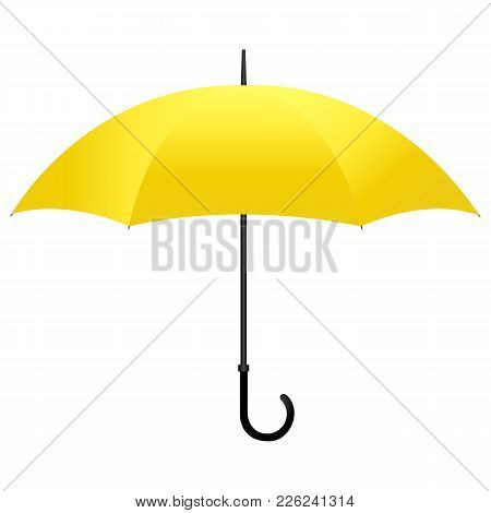 Yellow Umbrella With Black Handle Isolated On White Background. Vector Illustration