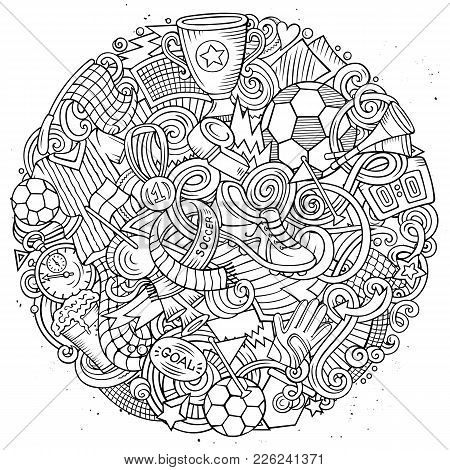 Cartoon Vector Doodles Football Illustration. Line Art Detailed, With Lots Of Objects Background. Al