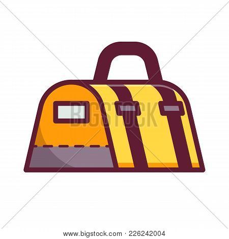 Yellow Gym Bag For Sport And Fitness. Vector Icon.