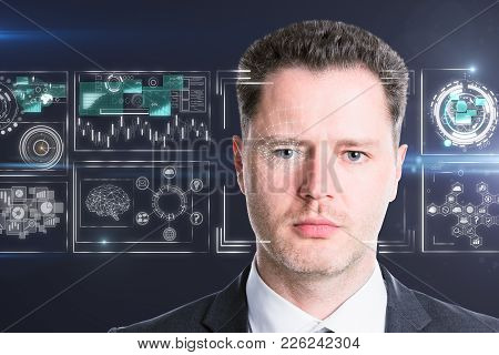 Handsome European Businessman Portrait On Abstract Blurry Background With Business Interface. Face R