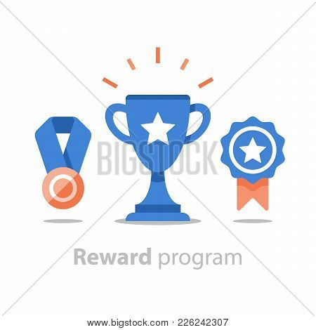 Reward Program, Winner Cup, First Place Bowl, Game Trophy, Win Super Prize, Achievement And Accompli