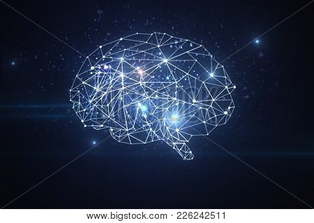 Abstract Glowing Polygonal Brain On Dark Background. Artificial Intelligence And Future Concept. 3d
