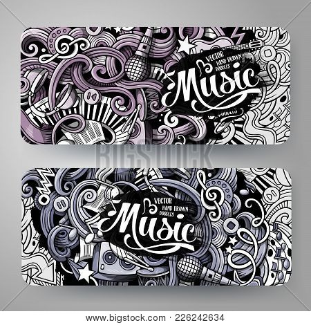 Cartoon Graphics Monochrome Vector Hand Drawn Doodles Music Corporate Identity. 2 Id Cards Design. T