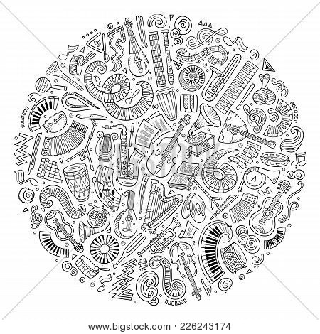 Set Of Vector Cartoon Doodle Classic Musical Instruments And Objects Collected In A Circle. Classica
