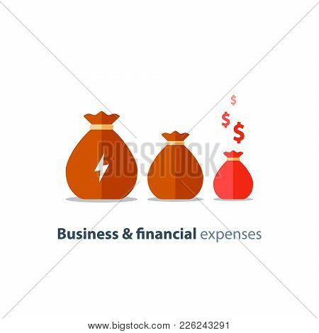 Budget deficit, finance shrinkage, income decrease, business devaluation, corporate expenses, financial burden, negative trend, vector icon, flat illustration poster