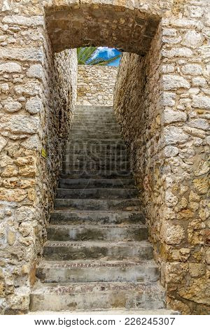 Concrete Steps Up Stone Passage In Curacao