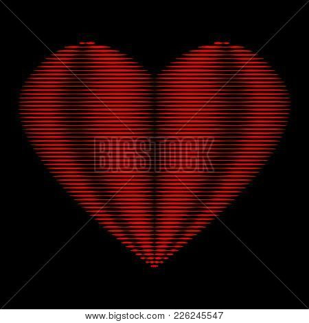 Heart Of Red Lines Sign. Beautiful Icon Isolated On Black Background. Image Of Romance. Logo For Rom