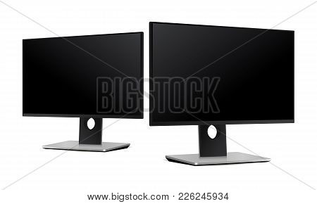 Computer Monitor - Half Side View. Two Perspective Mockups To Showcase Your Apps, Websites And Other