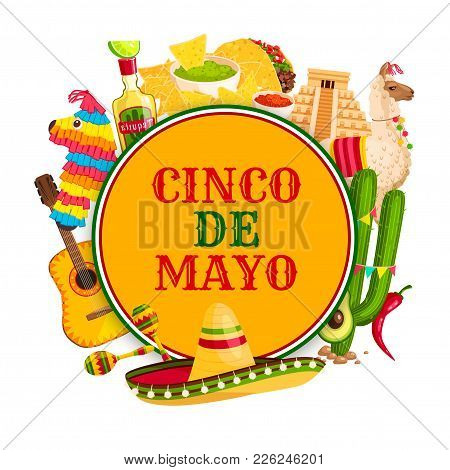 Cinco De Mayo Festival Poster With Mexican Holiday Symbols. Sombrero Hat, Chili Pepper And Maracas,