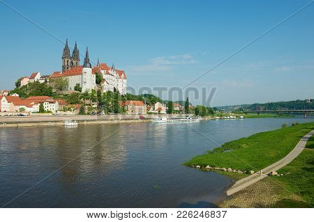 Meissen, Germany - May 22, 2010: View To The Albrechtsburg Castle And Meissen Cathedral From The Opp
