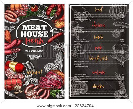 Meat House Sketch Menu Design Template For Gourmet Meaty Delicatessen. Vector Beef Sausages, Chicken