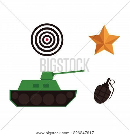Vector Flat Army, Military, 23 Of February, Russian Defender Of The Fatherland Day Symbol Icons - Gr